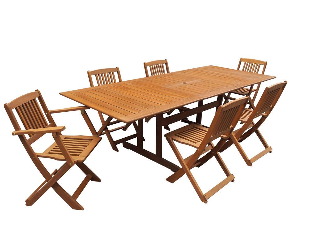 Salon de jardin en bois exotique Osaka Table extensible