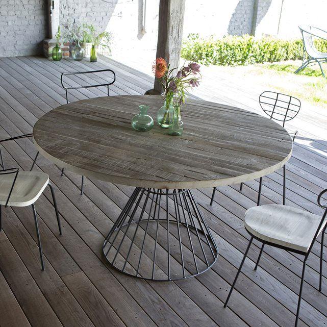 Salon de jardin table ronde d extérieur metal noir et pin