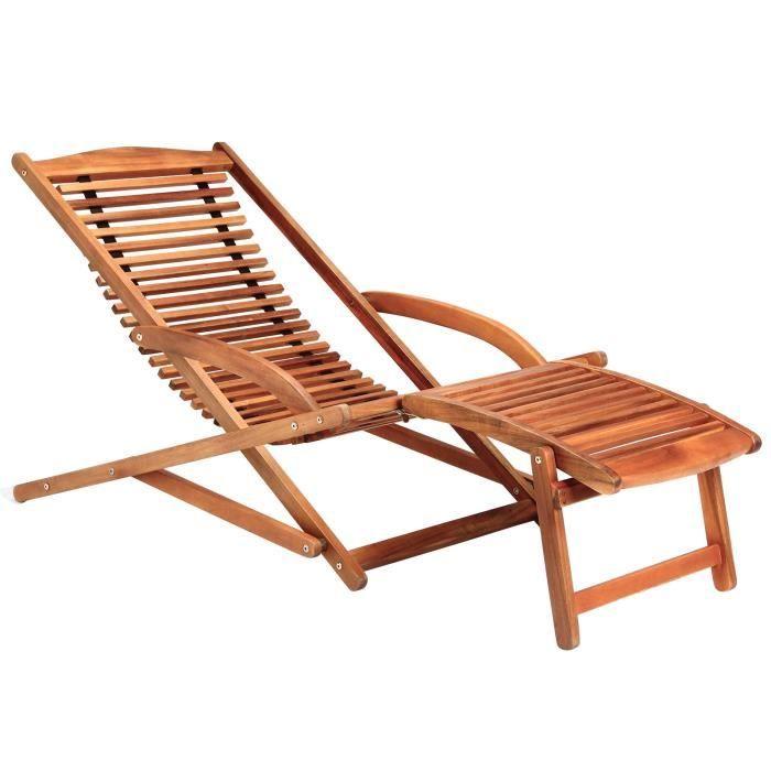 Transat chaise longue bois mobilier de jardin Achat