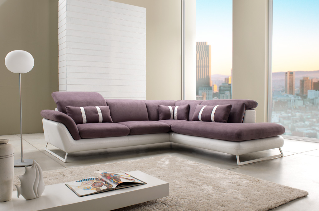 Canapé d angle design en cuir et tissu modèle Oblo