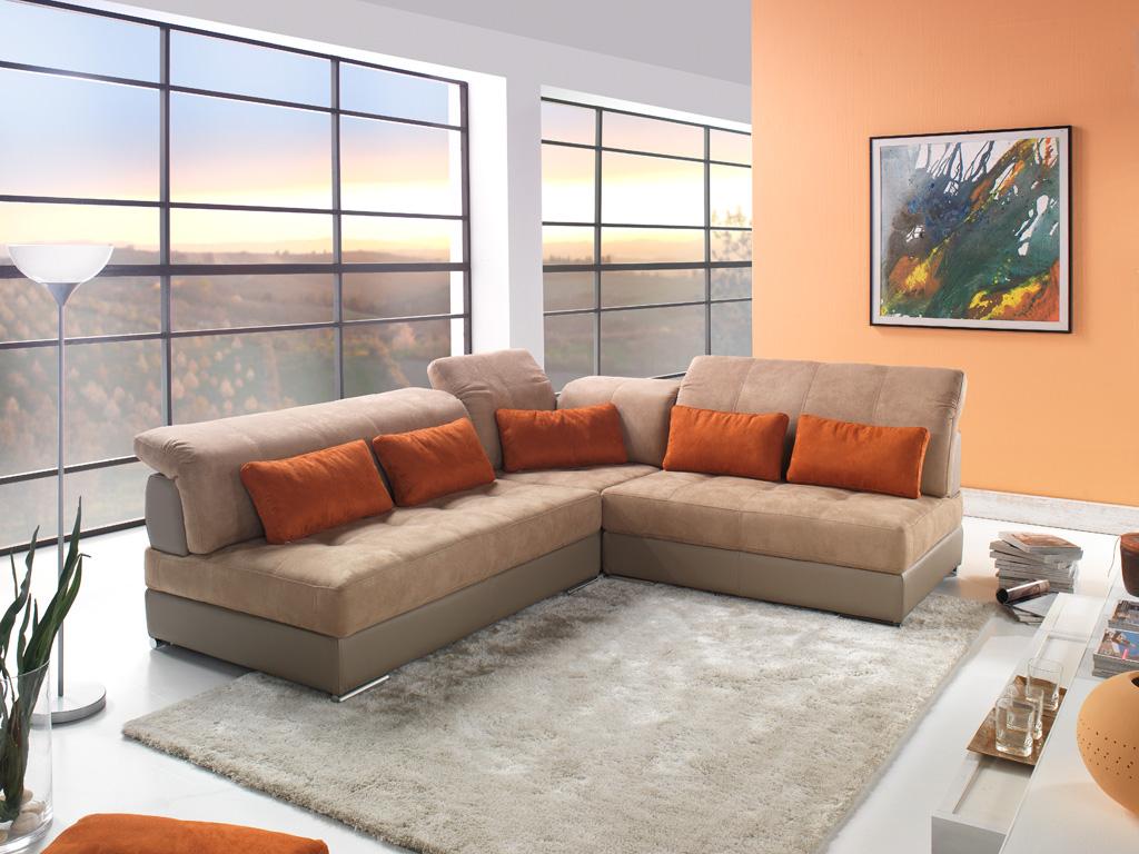 Canapé d angle modulable cuir et tissu modèle Edy