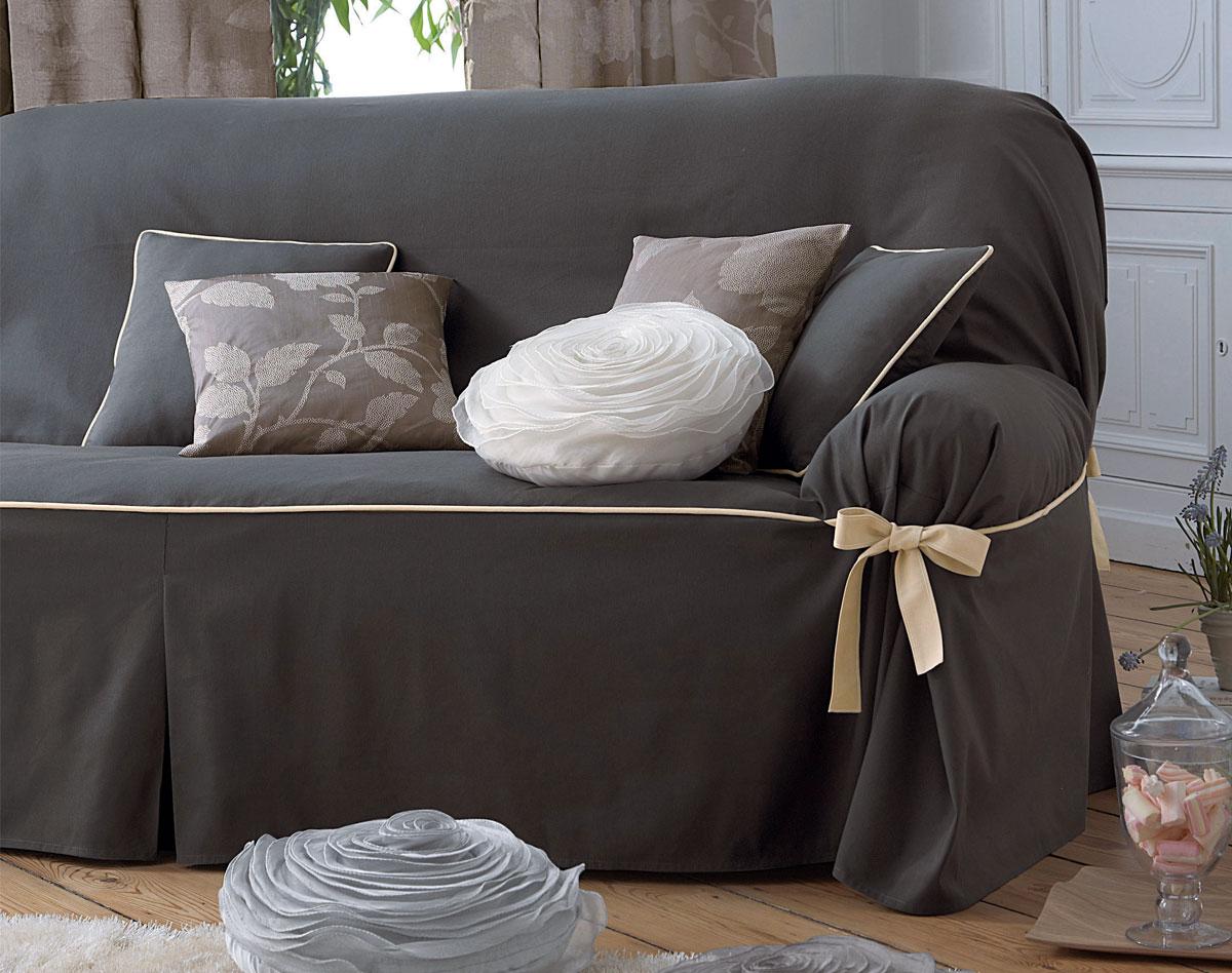 Housses fauteuil et canapés bicolores à nouettes