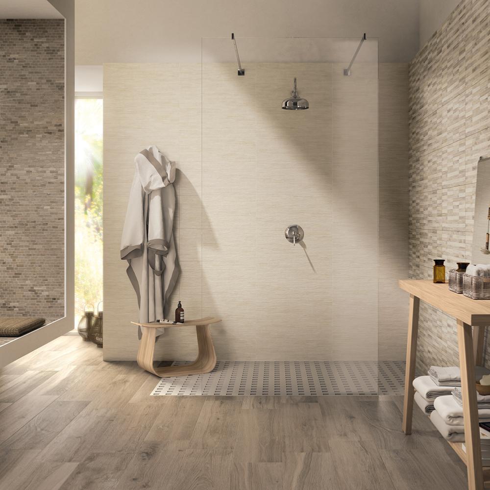 Carrelage sol salle de bain imitation bois 23x100 Ega