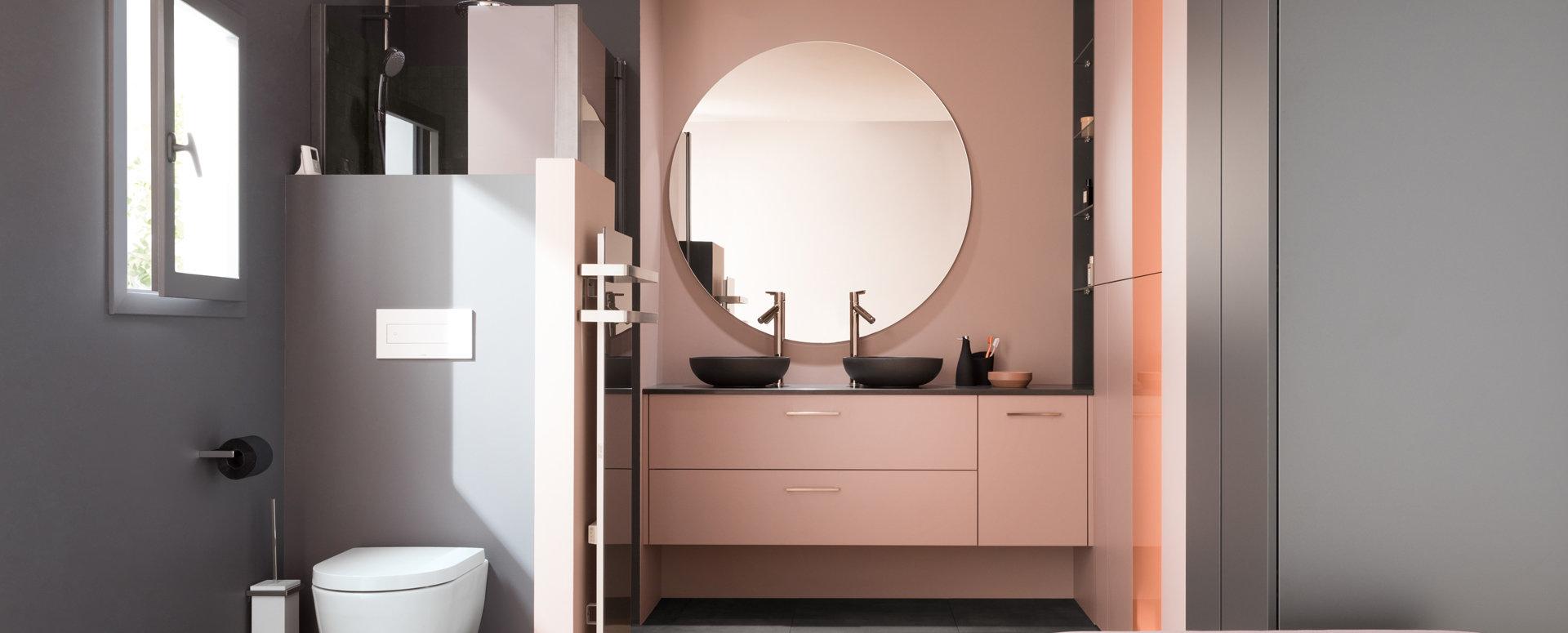 Salle de bains moderne rose Ambiance Velours