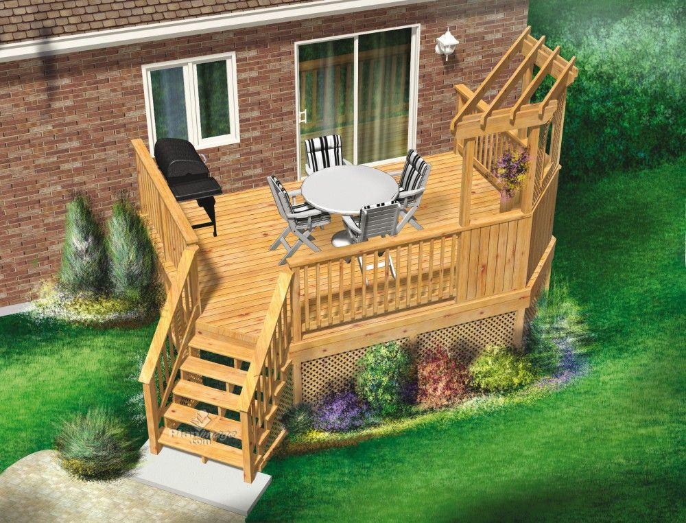 Cette jolie terrasse en bois surélevée à un niveau est