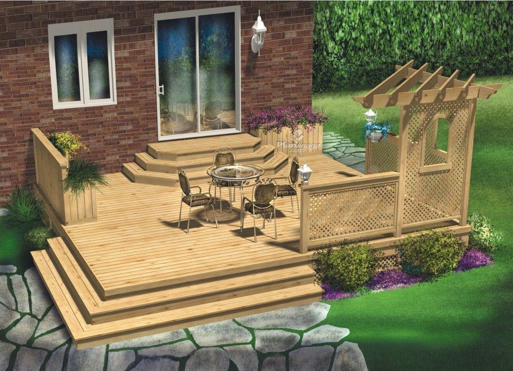 Cette terrasse en bois à palier unique a été conçue de