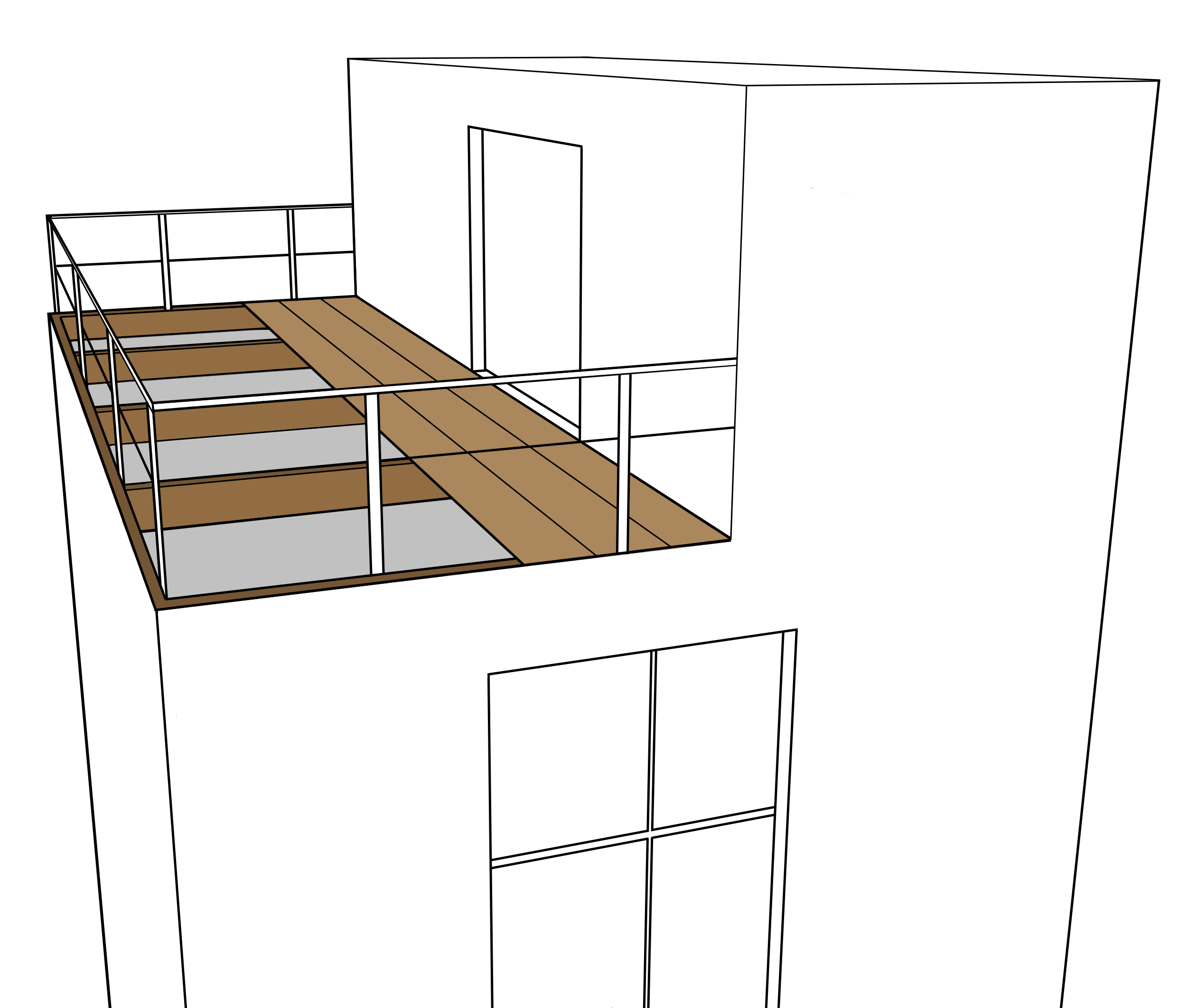Monter une terrasse en bois sur pilotis Mailleraye jardin