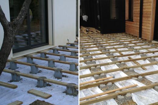 Monter une terrasse en bois sur plot beton veranda