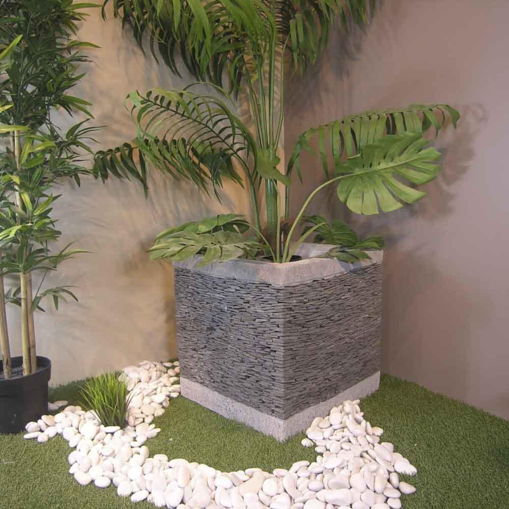 Pot bac jardinière carré cube ardoise 50cm jardin terrasse