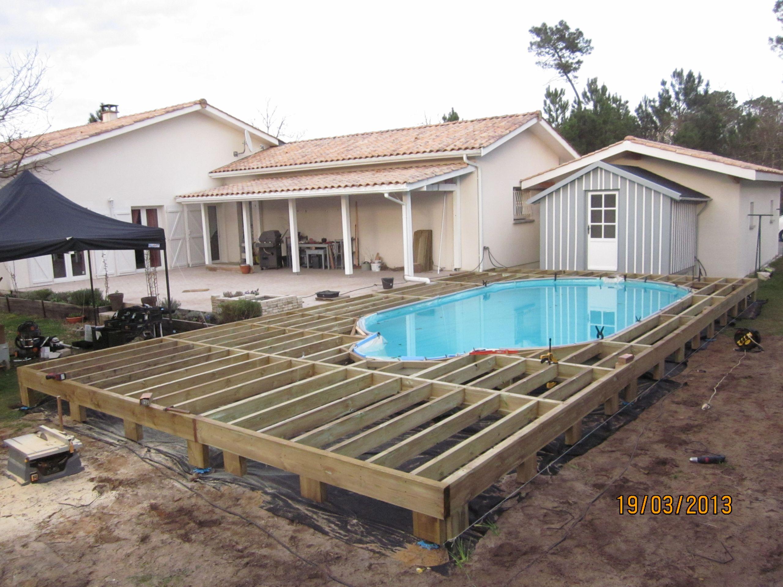 Ossature pour terrasse bois et posite
