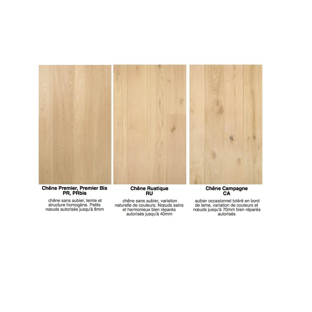 Parquet chêne massif 14mm largeur 7 à 13cm brut ou