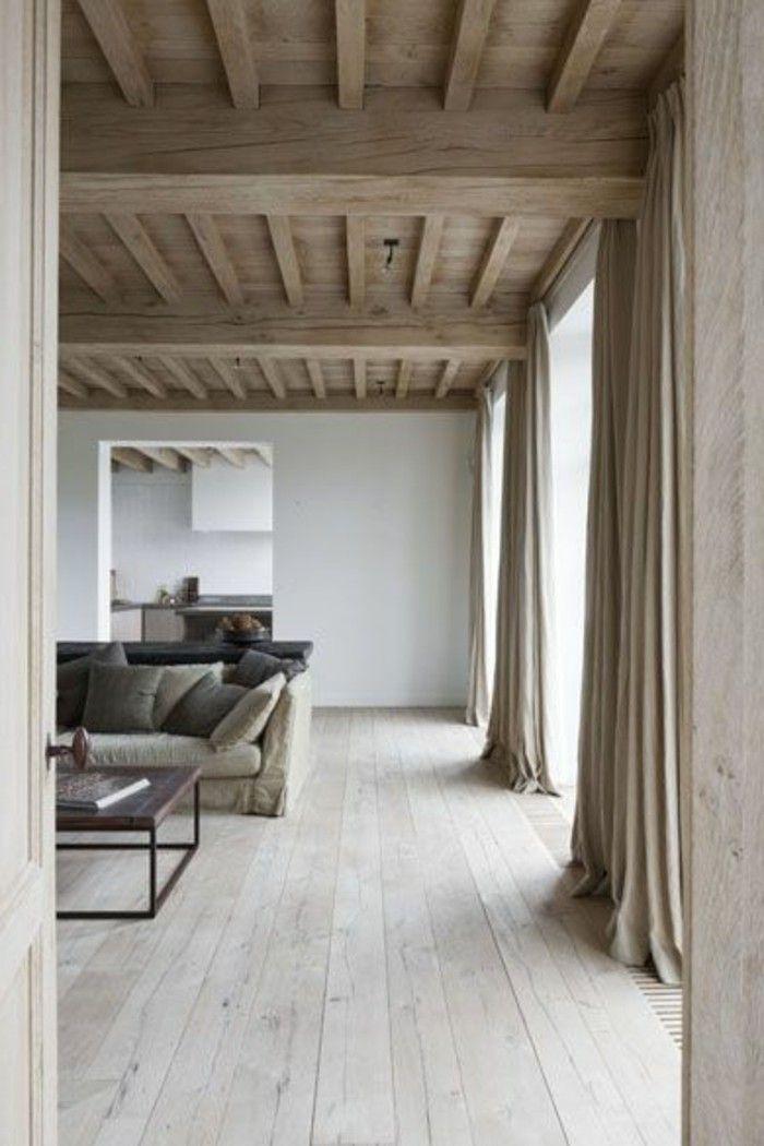 Déco Salon salon en bois clair sol en parquet clair pas