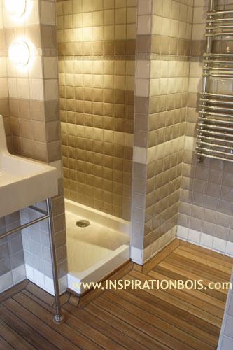Inspiration Bois Salle de bain Parquet Teck massif