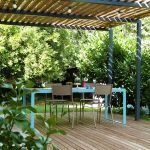Pergola De Terrasse Pergola Métal Terrasse Bois Et Table De Jardin Design
