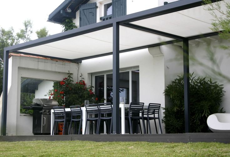 Self supporting pergola aluminium PVC fabric sliding
