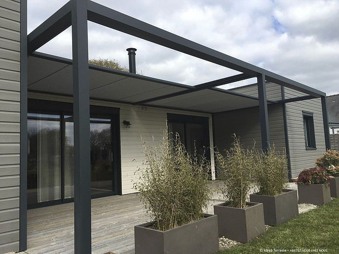 Self supporting pergola aluminum fabric sliding canopy