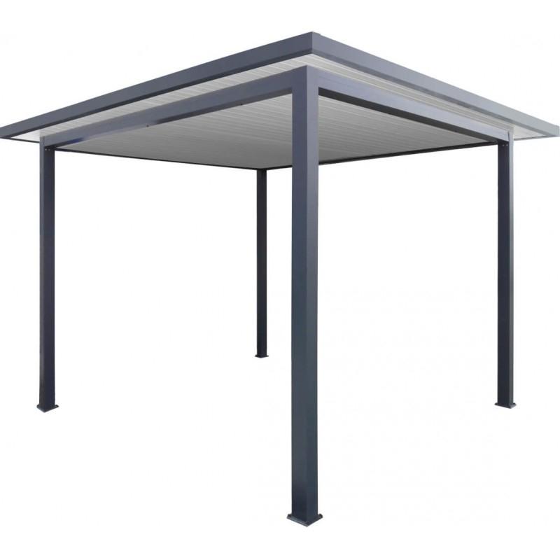 Pergola aluminium toit plat avec débords 4 x 4 m
