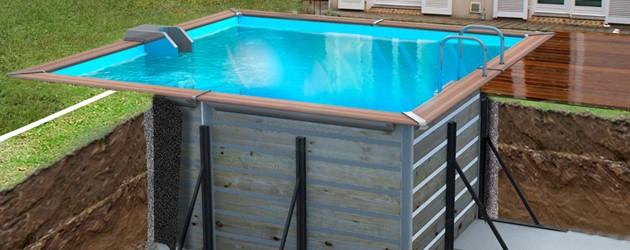 Kit piscine bois Water Clip PLATINUM carrée 368 x 368 x