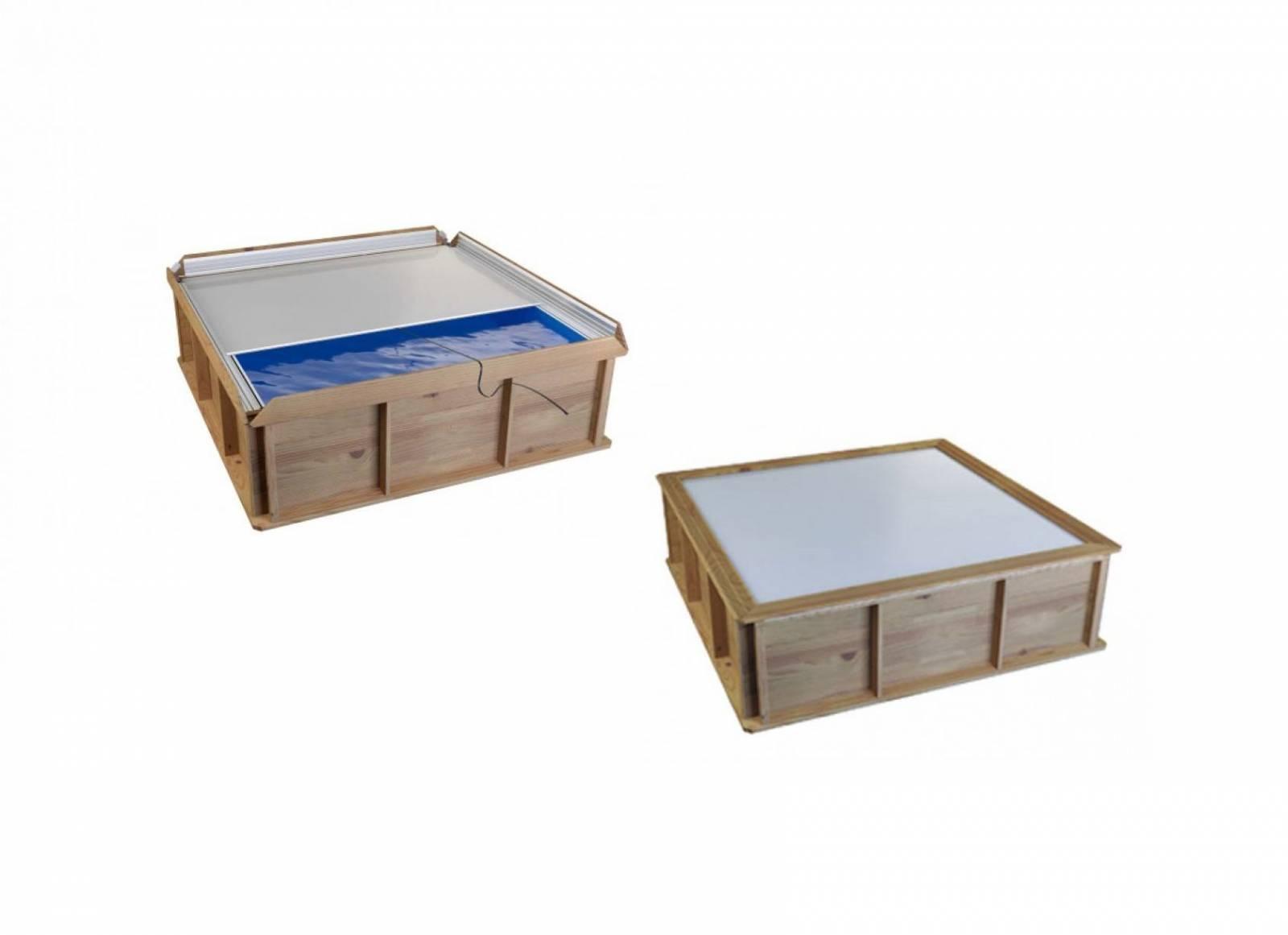 Petite piscine hors sol bois carrée 2x2 pour enfants