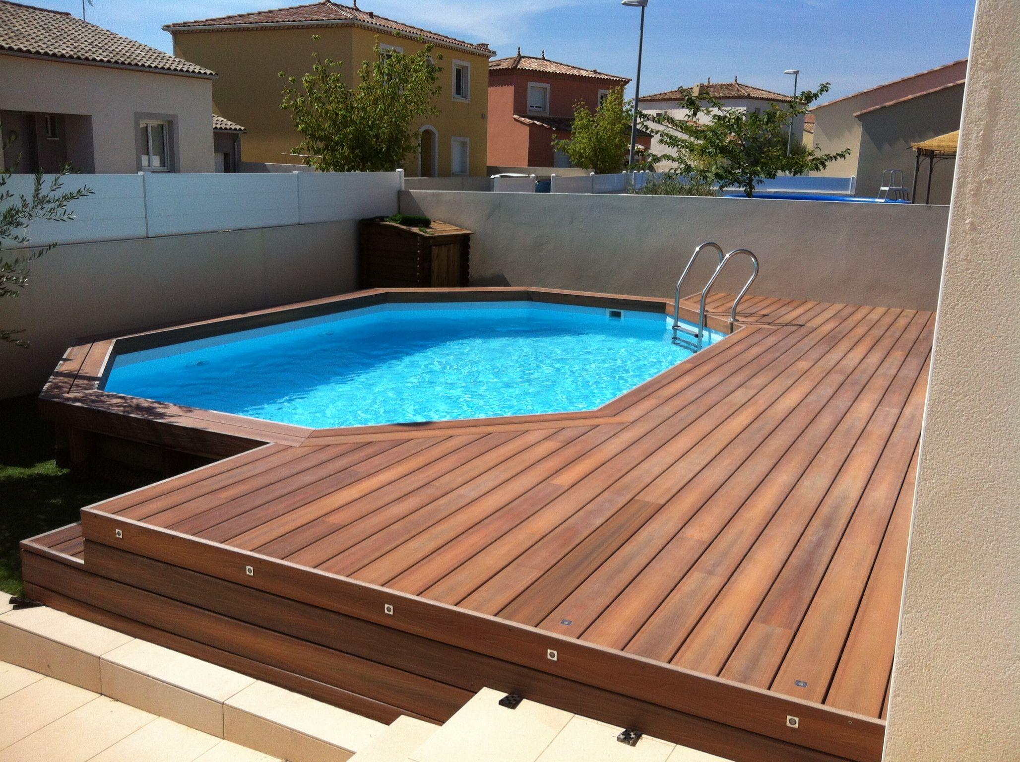 Aménagement de terrasse de piscine hors sol en posite