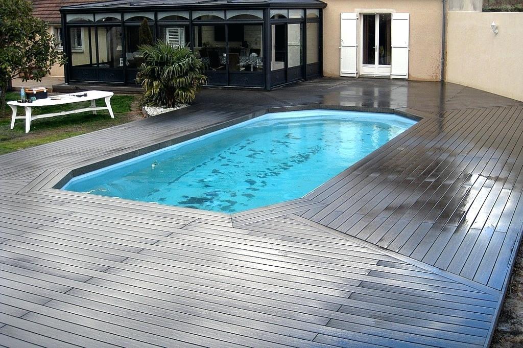Terrasse De Piscine En Bois posite Deck Deux Couleurs