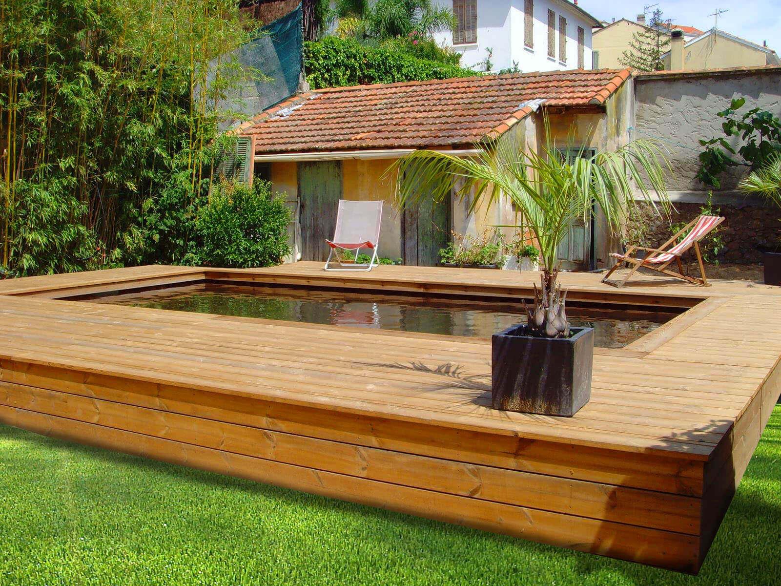 s de poses de piscines semi enterrées en bois par Odyssea