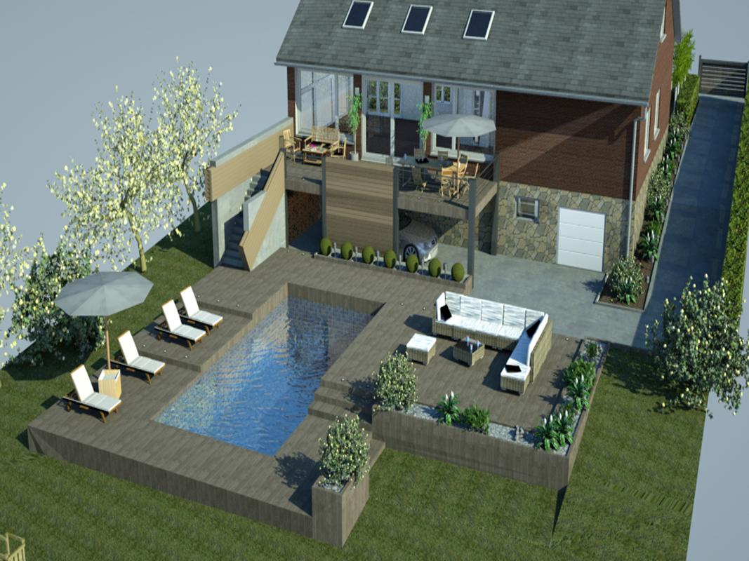 terrasse piscine hauteur
