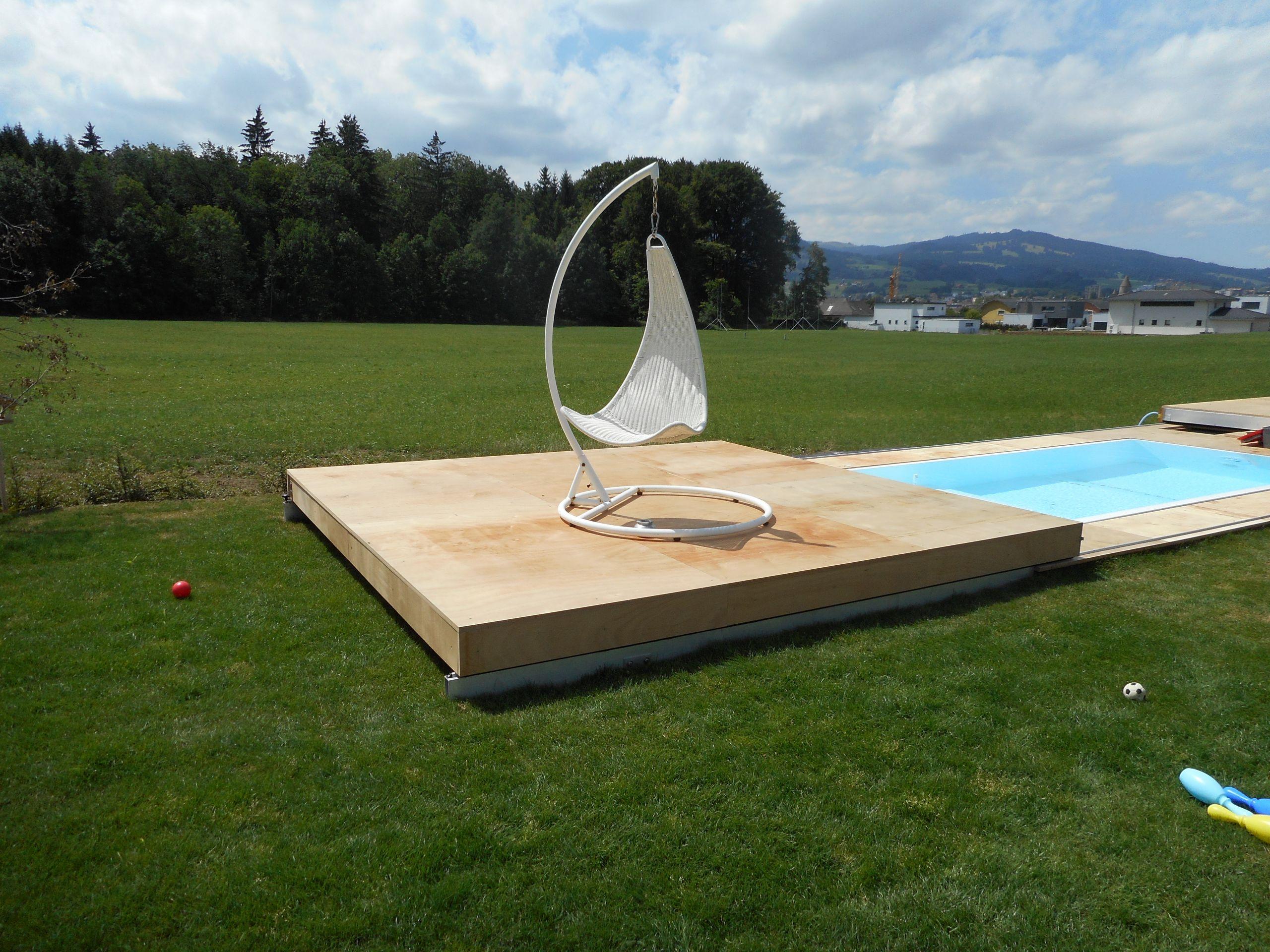 Terrasse coulissante pour piscine Piscine Nicolliers