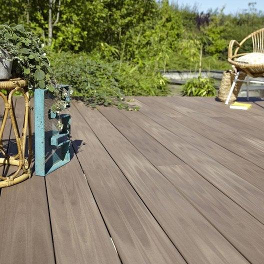 Planche Composite Terrasse Planche Posite Terrasse Premium Brun L 240 X L 15 Cm