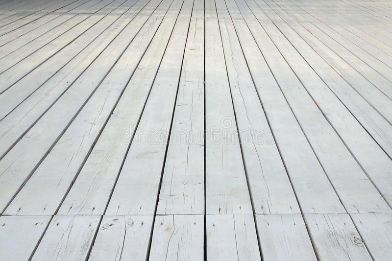 Plancher En Bois Blanc Extérieur De Patio Ou De Véranda