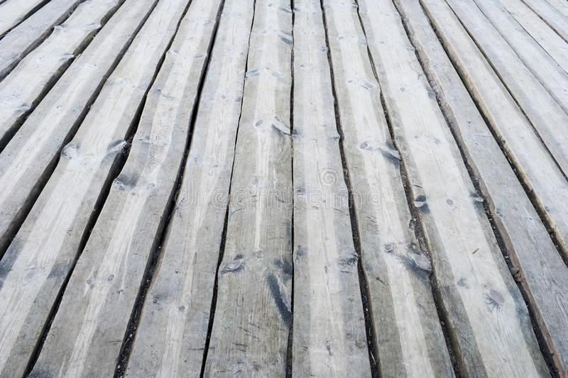 Plancher Extérieur En Bois Gris De Terrasse stock