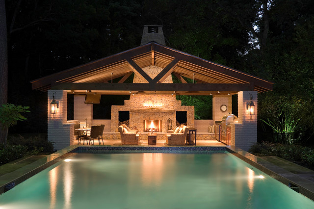 Pool house Contemporain Piscine houston par