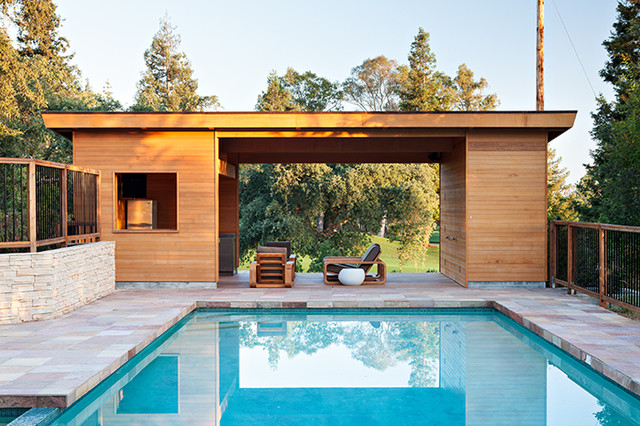 Pool House in Los Gatos Contemporain Piscine san