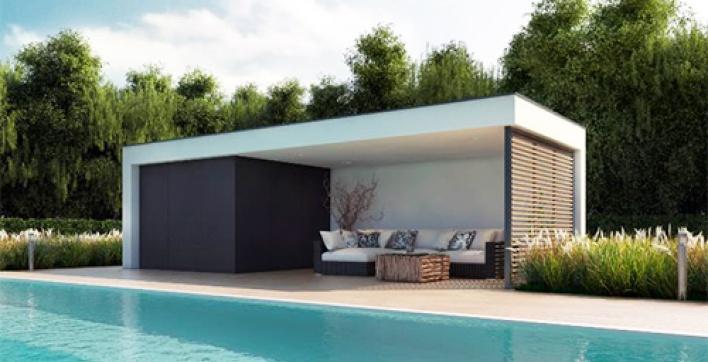 Un poolhouse vraiment contemporain installé en une journée