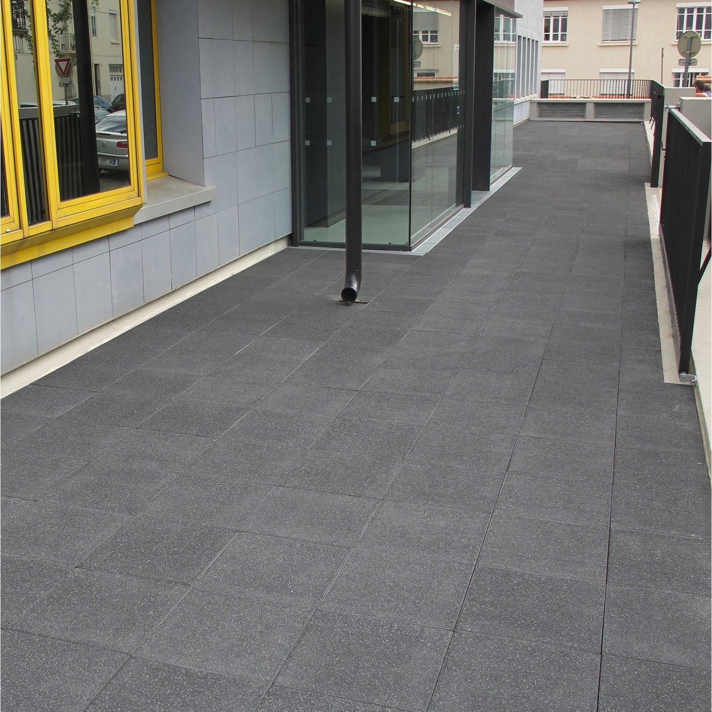 Dalle béton Sablée lava noir L 50 x l 50 cm x Ep 40 mm
