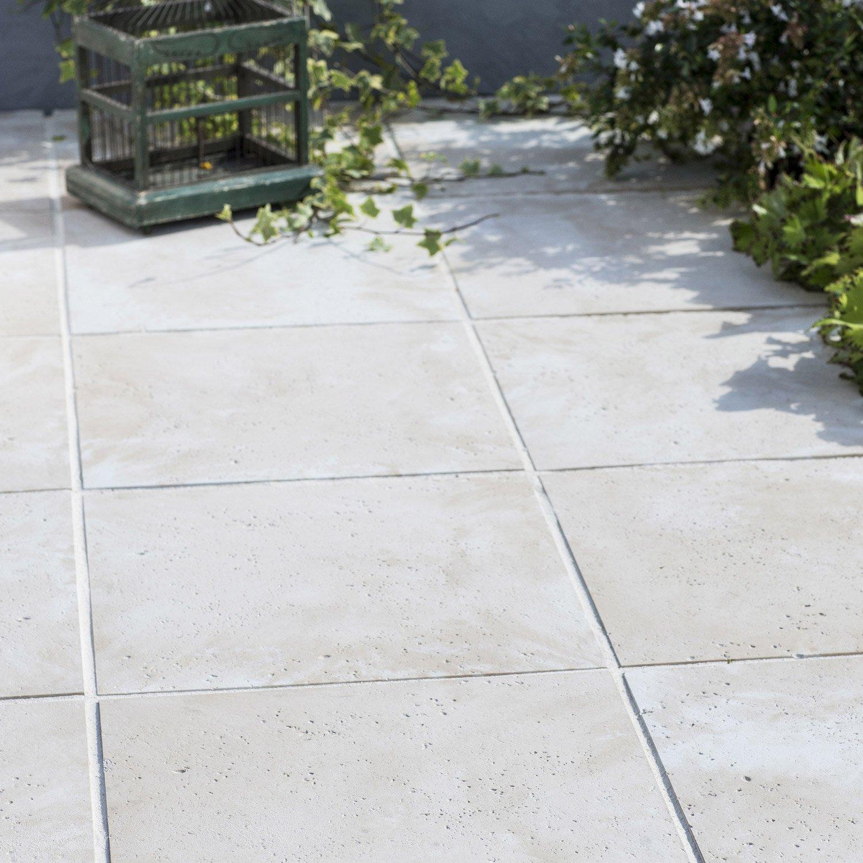 Dalle pierre reconstituée Kairouan beige L 50 x l 50 cm
