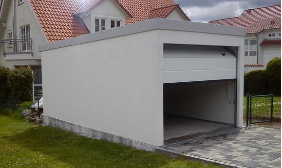 Garage métallique toit plat crépis 1 box Fourniture