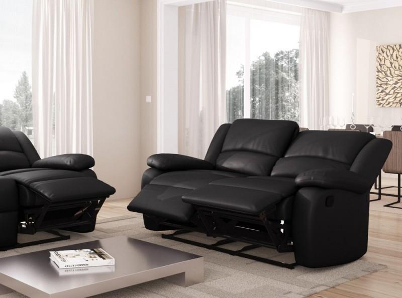 Canapé 2 places relax simili cuir noir Relaxo