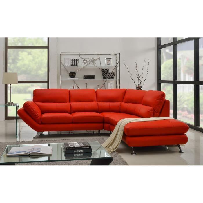 DELICIOUS Canapé angle droit cuir et simili 4 places