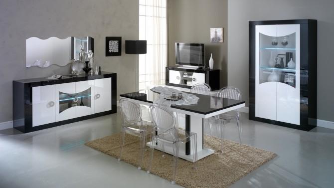 Salle à manger design lumineuse noire et blanche Nevis