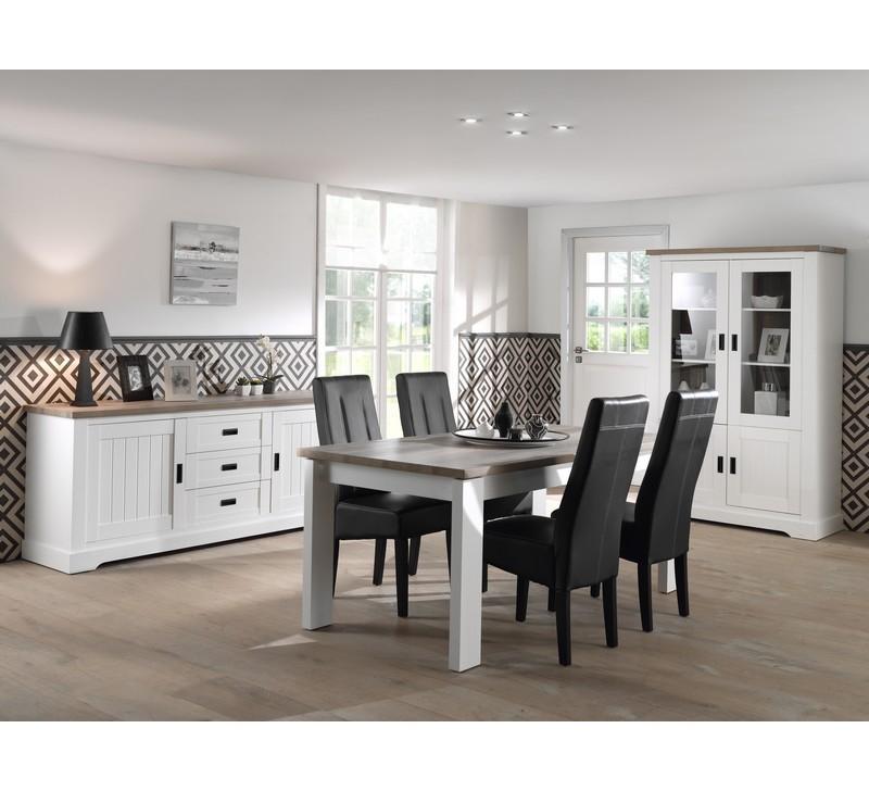 Salle à manger plète blanche avec plateau bois en 190cm