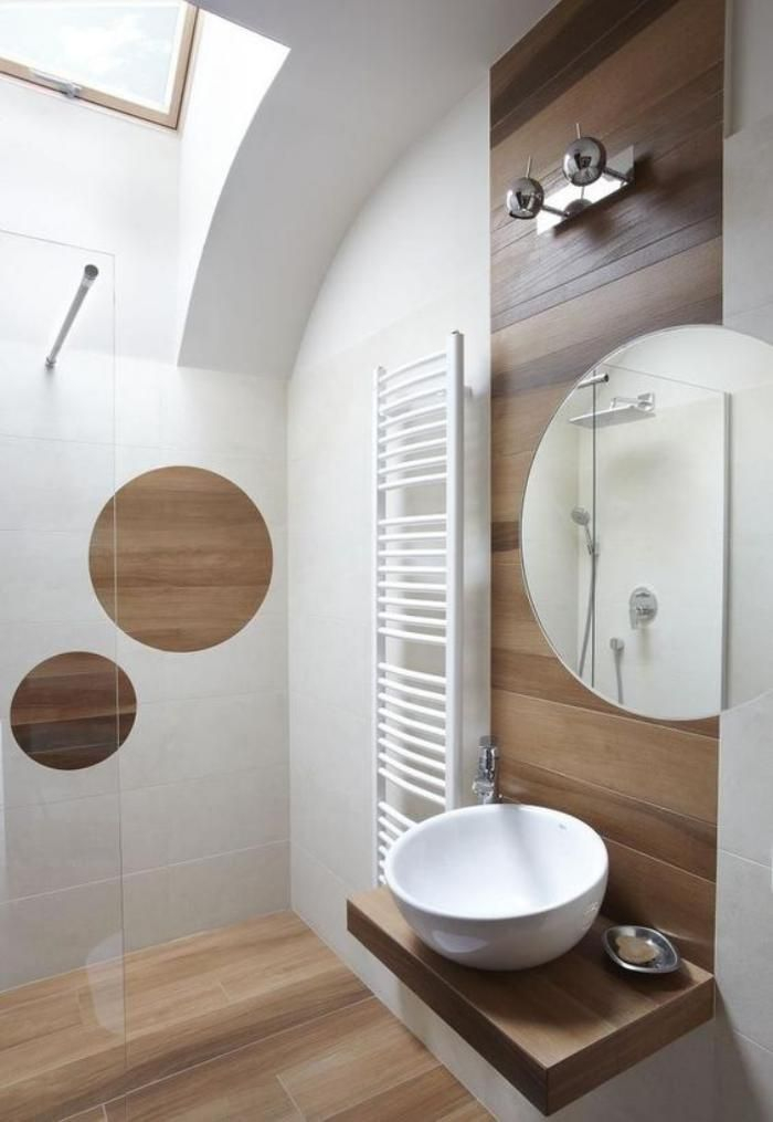 Idée décoration Salle de bain carrelage imitation bois