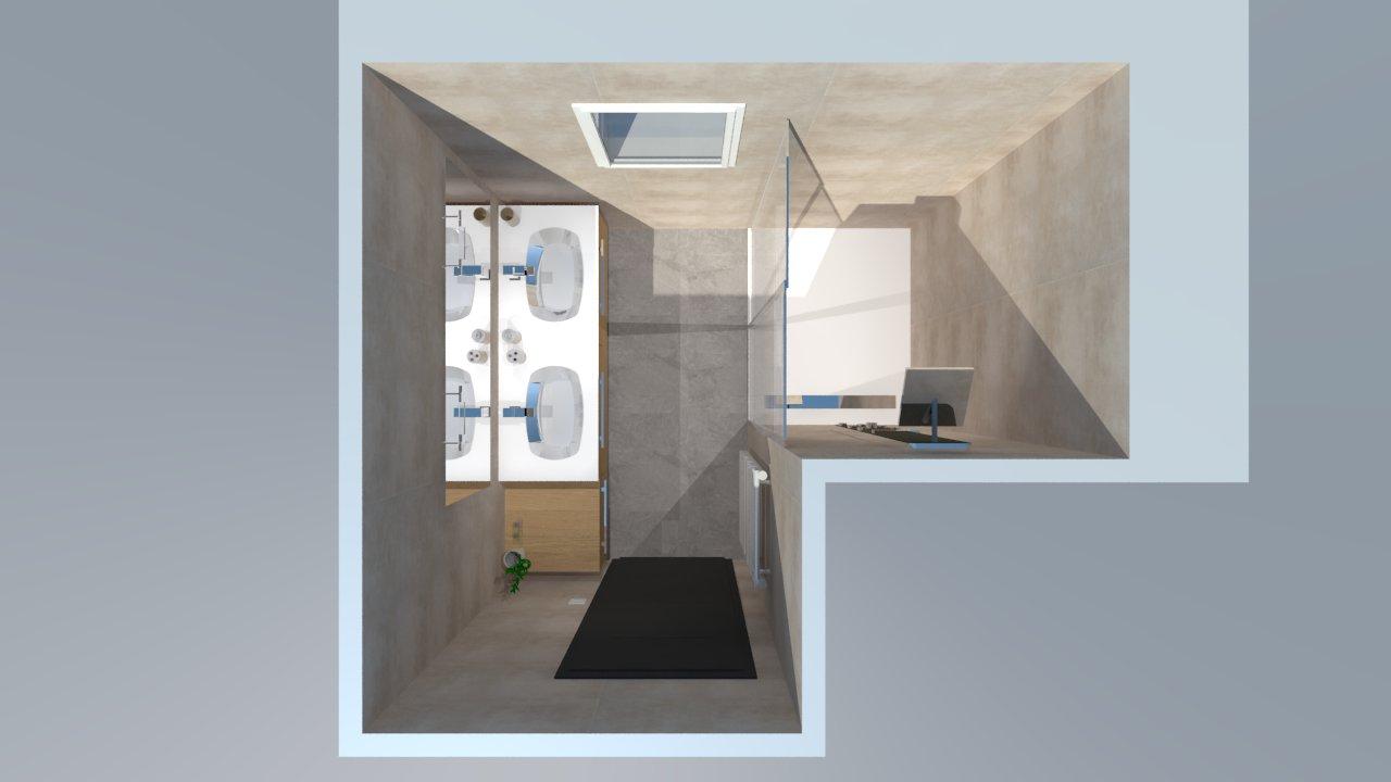 Salle de bain bois beige blanc gris avec douche italienne