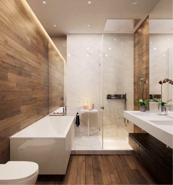salle de bain moderne en bois et blanc