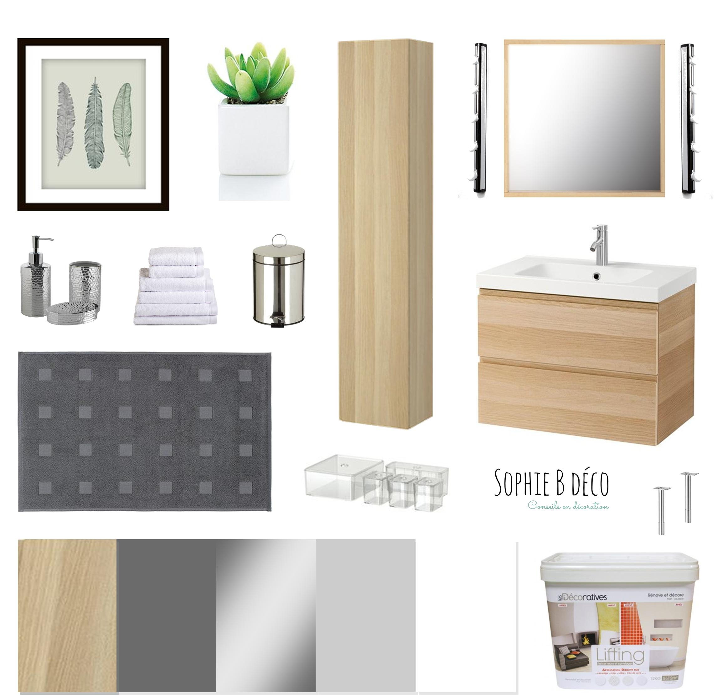 Salle de bain Rénovation en gris blanc et bois