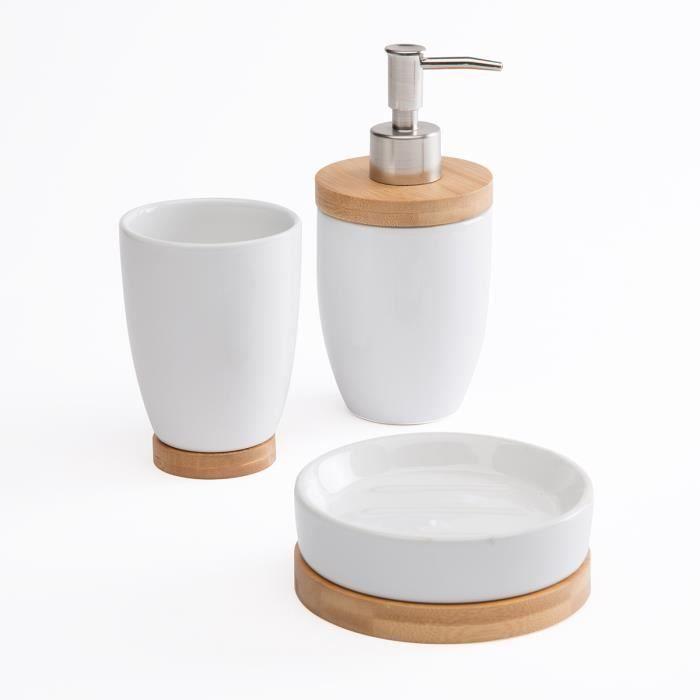 Set de 3 accessoires de salle de bain céramique et bois