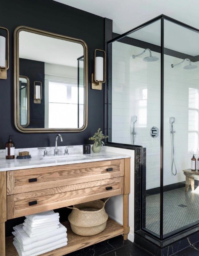 1001 exemples de la salle de bain en noir et bois