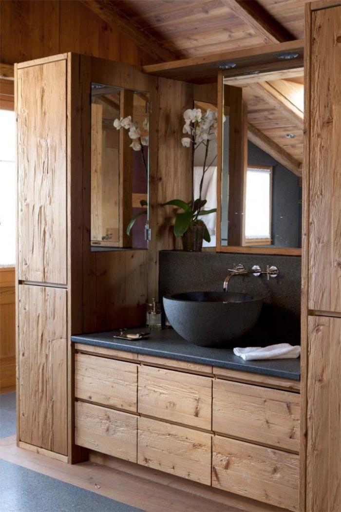 Les beaux exemples de salle de bain rustique 40 photos
