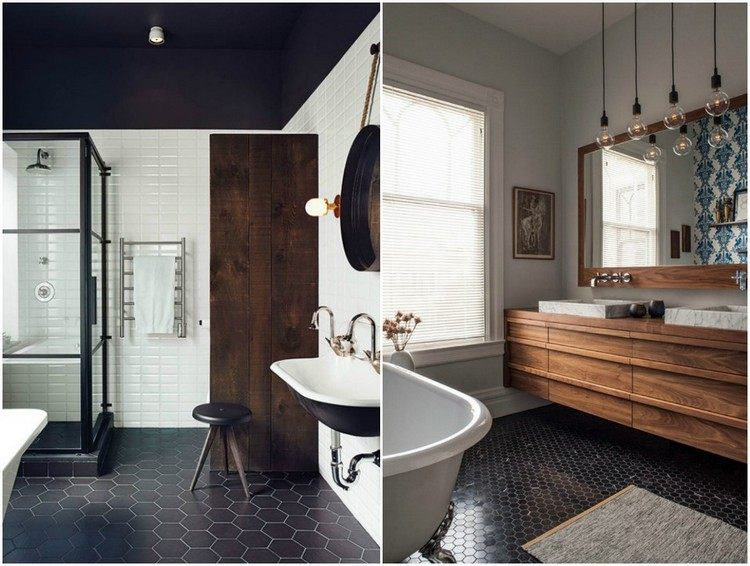 Salle de bain noir et bois en 20 idées d aménagement trendy