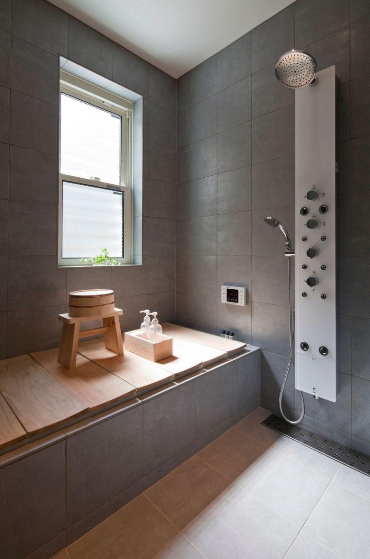 Idees Deco Salle De Bain Carrelage salle de bain gris et bois idée décoration salle de bain
